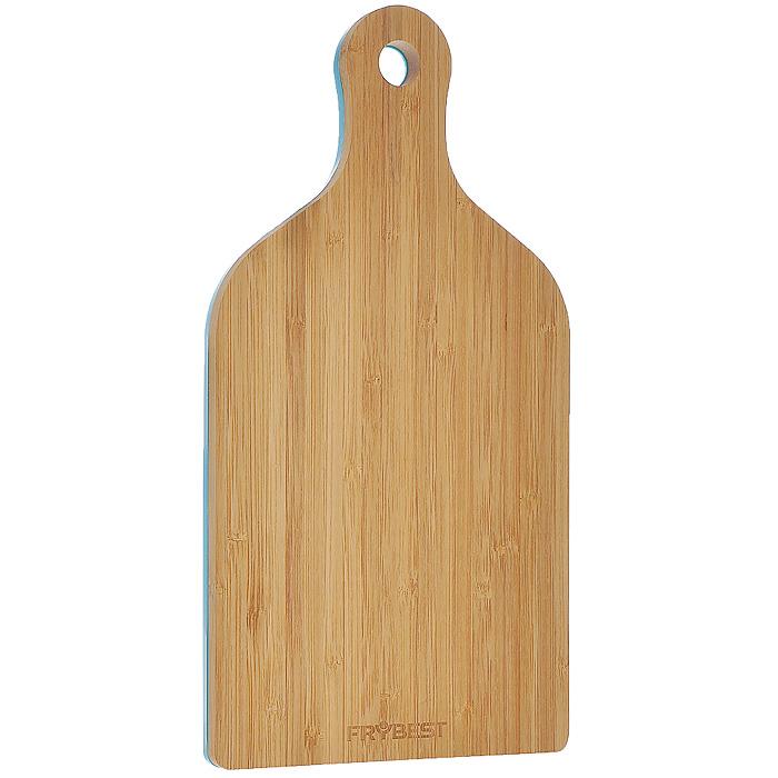 Доска разделочная Frybest Rainbow бамбуковая, цвет: голубой, 18 см х 35 смFY0033Прямоугольная разделочная доска Frybest Rainbow, выполненная из высококачественной древесины бамбука и пластика голубого цвета, станет незаменимым аксессуаром на вашей кухни. Доска двухсторонняя: бамбуковая сторона идеально подходит для резки или рубки мяса и рыбы, а пластиковая - для овощей и фруктов. Бамбук - инновационный материал, идеально подходящий для разделочных досок. Доски из бамбука обладают высокой плотностью структуры древесины, а также устойчивы к механическим воздействиям. Антибактериальное покрытие пластиковой стороны защищает от плесени, грибков и неприятных запахов. Подходит как для приготовления, так и для сервировки пищи. Доска оснащена удобной ручкой и отверстием, за которое вы можете подвесить ее в удобное для вас место.Такая доска прекрасно впишется в интерьер любой кухни и прослужит вам долгие годы. Характеристики:Материал: бамбук, пластик. Цвет: голубой. Размер доски:18 см х 35 см. Размер упаковки: 18,5 см х 36,5 см х 2 см. Артикул: FY0033.