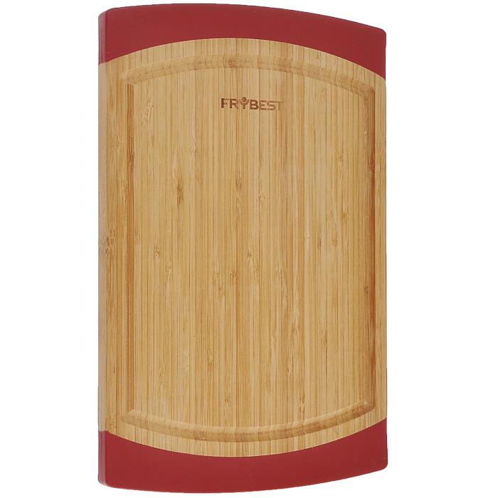 Доска разделочная Frybest Lux, бамбуковая, 23 х 35 смFY0006Прямоугольная разделочная доска Frybest Lux, выполненная из высококачественной древесины бамбука, станет незаменимым аксессуаром на вашей кухни. Бамбук - инновационный материал, идеально подходящий для разделочных досок. Доски из бамбука обладают высокой плотностью структуры древесины, а также устойчивы к механическим воздействиям. Силиконовая окантовка по краям доски предотвратит ее скольжение по поверхности стола. Доска также имеет углубление для стока жидкости вдоль края. Подходит для резки или рубки мяса и рыбы, а также для сервировки таких блюд, как суши.Функциональная и простая в использовании, разделочная доска Frybest Lux прекрасно впишется в интерьер любой кухни и прослужит вам долгие годы.