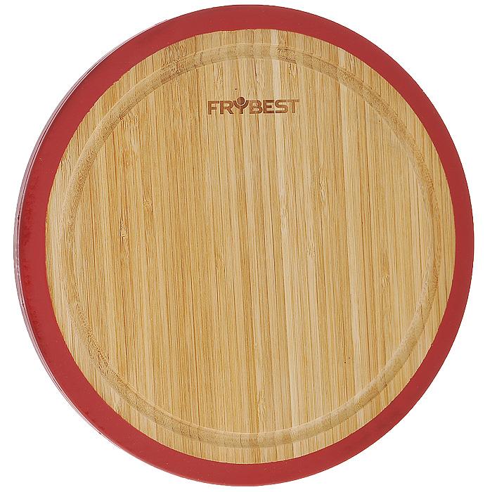 Доска разделочная Frybest Lux, бамбуковая, диаметр 33 смFY0008Круглая разделочная доска Frybest Lux, выполненная из высококачественной древесины бамбука, станет незаменимым аксессуаром на вашей кухни. Бамбук - инновационный материал, идеально подходящий для разделочных досок. Доски из бамбука обладают высокой плотностью структуры древесины, а также устойчивы к механическим воздействиям. Силиконовая окантовка по краям доски предотвратит ее скольжение по поверхности стола. Доска также имеет углубление для стока жидкости вдоль края. Подходит для резки или рубки мяса и рыбы, а также для сервировки таких блюд, как суши.Функциональная и простая в использовании, разделочная доска Frybest Lux прекрасно впишется в интерьер любой кухни и прослужит вам долгие годы.Диаметр доски: 33 см.