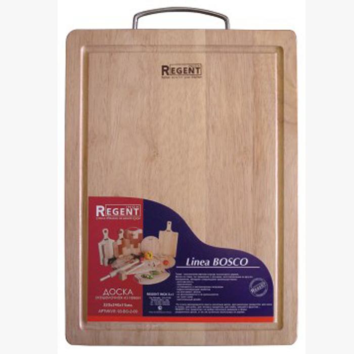 """Прямоугольная разделочная доска """"Regent Inox"""" с металлической ручкой изготовлена из высококачественной древесины - гевеи. Доска имеет углубление для стока жидкости вдоль края. Прекрасно подходит для приготовления и сервировки пищи.Гевея - высококачественная порода каучукового дерева. Доски из гевеи, по сравнению с досками, изготовленными из других материалов, обладают следующими преимуществами:  - долговечность  - практичность  - устойчивость к механическим нагрузкам  - водоотталкивающие свойства  - не впитывают запахи  - не расслаиваются и не рассыхаются  - не тупят ножи  - оригинальный дизайн. На кухне рекомендуется иметь несколько досок, для различных продуктов: для мяса и птицы, для рыбы, для готовых продуктов, для хлеба, овощей и фруктов.Regent Inox предлагает на выбор несколько размеров и форм разделочных досок, а так же кухонные аксессуары из дерева. Характеристики:Материал: гевея. Размер:  32 см х 24 см х 1,5 см. Артикул:  93-BO-2-09."""