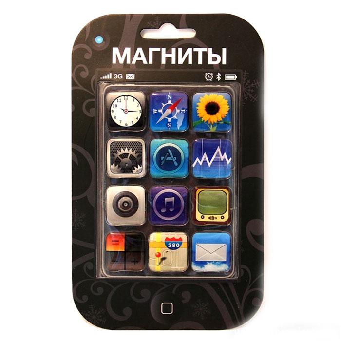 Набор магнитов Иконки, 12 шт94298Набор магнитов включает в себя 12 магнитов, выполненных в виде иконок рабочего стола телефона iPhone. Такие магниты украсят ваш интерьер и привнесут в него разнообразия. Набор также может стать забавным сувениром для близких и друзей. Характеристики:Материал: магнит, пластик. Размер магнита: 2,2 см х 2,2 см. Размер упаковки: 10,5 см х 17,5 см х 1 см. Артикул:94298.