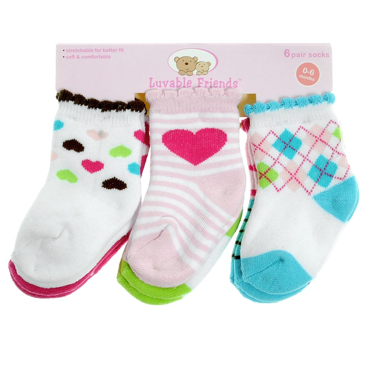 Носки детские Luvable Friends Яркий принт, цвет: розовый, белый, салатовый, голубой, 6 пар. 26110. Размер 55/67, 0-6 месяцев26110Комфортные и прочные детские носки Luvable Friends Яркий принт, махровые внутри, очень мягкие на ощупь. Эластичная резинка плотно облегает ножку ребенка, не сдавливая ее, благодаря чему малышу будет комфортно и удобно. Комплект состоит из шести пар носочков с различной цветовой гаммой и притом.