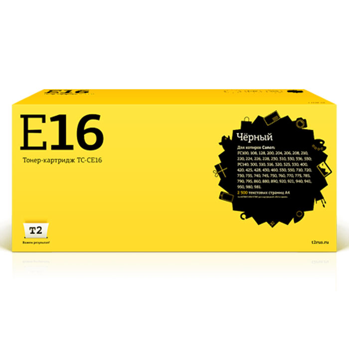 T2 TC-CE16 картридж (аналог E16) для Canon FC 108/128/206/208/210/220/228/230/310/330/PC330/760/860 mrphoto 330 tc