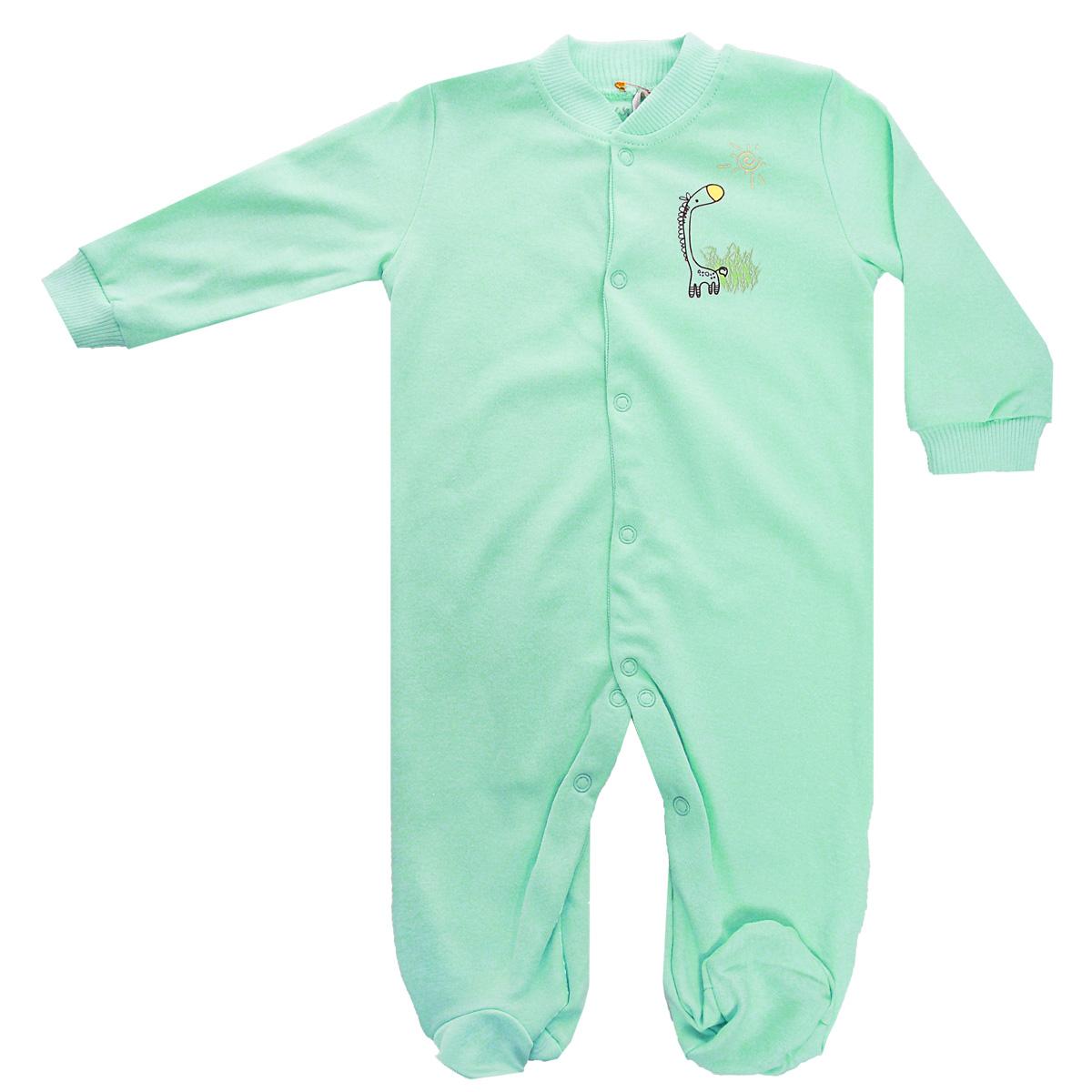 Комбинезон детский Клякса, цвет: зеленый. 37-550. Размер 62, до 3 месяцев37-550Удобный детский комбинезон Клякса послужит идеальным дополнением к гардеробу ребенка. Комбинезон изготовлен из интерлок-пенье - натурального хлопка, благодаря чему он необычайно мягкий и легкий, не раздражает нежную кожу младенца и хорошо вентилируется, а эластичные швы приятны телу малыша и не препятствуют его движениям. Комбинезон с длинными рукавами, небольшим воротничком-стойкой и закрытыми ножками имеет ассиметричные застежки-кнопки от горловины до щиколотки, которые помогают легко переодеть ребенка или сменить подгузник. Низ рукавов дополнен широкими эластичными манжетами, не пережимающими запястья малыша. На груди изделие оформлено оригинальным принтом с изображением забавного животного.Комбинезон полностью соответствует особенностям жизни ребенка в ранний период, не стесняя и не ограничивая его в движениях!