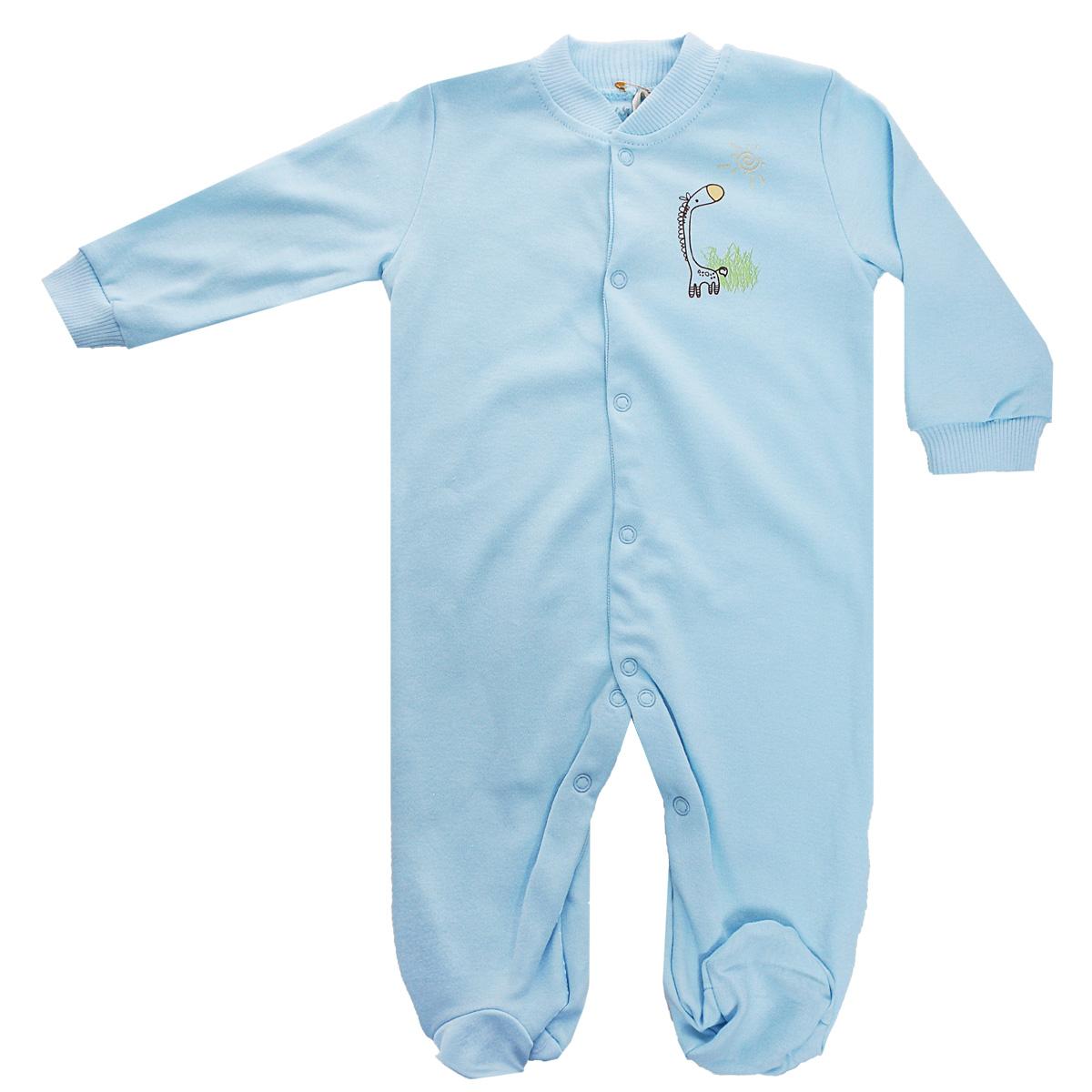 Комбинезон детский Клякса, цвет: голубой. 37-550. Размер 74, 9 месяцев37-550Удобный детский комбинезон Клякса послужит идеальным дополнением к гардеробу ребенка. Комбинезон изготовлен из интерлок-пенье - натурального хлопка, благодаря чему он необычайно мягкий и легкий, не раздражает нежную кожу младенца и хорошо вентилируется, а эластичные швы приятны телу малыша и не препятствуют его движениям. Комбинезон с длинными рукавами, небольшим воротничком-стойкой и закрытыми ножками имеет ассиметричные застежки-кнопки от горловины до щиколотки, которые помогают легко переодеть ребенка или сменить подгузник. Низ рукавов дополнен широкими эластичными манжетами, не пережимающими запястья малыша. На груди изделие оформлено оригинальным принтом с изображением забавного животного.Комбинезон полностью соответствует особенностям жизни ребенка в ранний период, не стесняя и не ограничивая его в движениях!