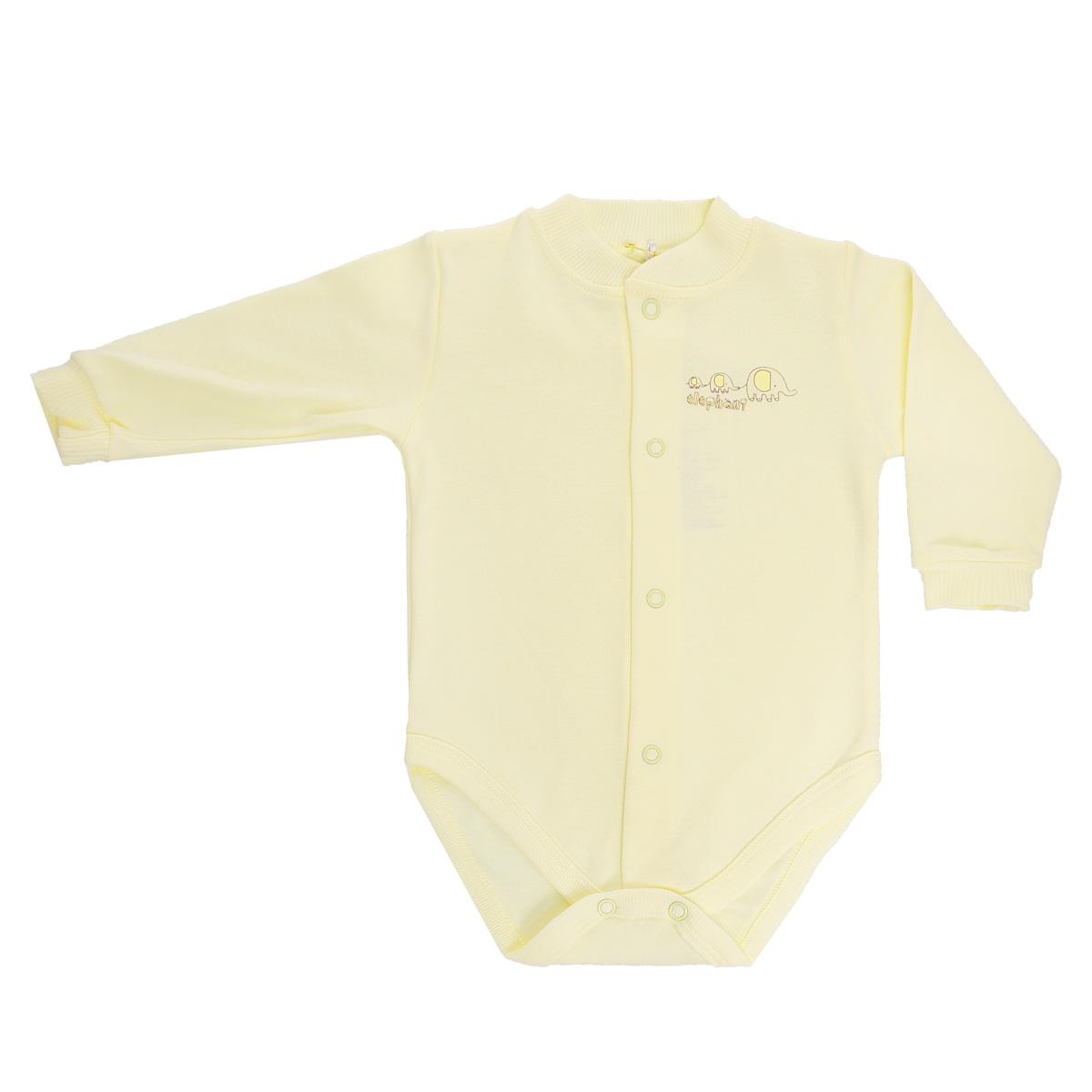 Боди детское Клякса, цвет: светло-желтый. 37-367. Размер 68, 6 месяцев37-367Детское боди Клякса с длинными рукавами послужит идеальным дополнением к гардеробу вашего ребенка, обеспечивая ему наибольший комфорт. Изготовленное из интерлок-пенье - натурального хлопка, оно необычайно мягкое и легкое, не раздражает нежную кожу ребенка и хорошо вентилируется, а эластичные швы приятны телу малыша и не препятствуют его движениям. Боди с небольшим воротником-стойкой дополнено удобными застежками-кнопками по всей длине и на ластовице, которые помогают легко переодеть младенца или сменить подгузник. Рукава дополнены широкой эластичной резинкой, не стягивающей запястья малыша. Спереди боди декорировано оригинальным принтом с изображением забавного животного.Боди полностью соответствует особенностям жизни ребенка в ранний период, не стесняя и не ограничивая его в движениях!