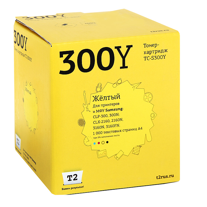 T2 TC-S300Y картридж (аналог CLP-Y300A) для Samsung CLP-300/300N/CLX-2160/2160N/3160N, Yellow картридж t2 q1339a tc h39ar
