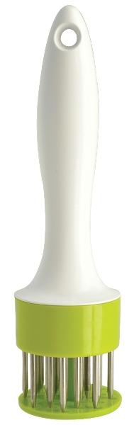 Размягчитель для мяса Regent Inox Presto93-AC-PR-18Размягчитель для мяса Regent Inox Presto выполнен из пищевого пластика и качественной нержавеющей стали и имеет высокопроизводительный пружинный механизм.Размягчитель идеально подходит для подготовки к приготовлению всех видов мяса. Обработка продуктов происходит без шума и брызг. В отличие от отбивки молотком, размягчитель не нарушает структуру мяса и его внешний вид. Разрушает соединительные ткани в мясе, делая его мягким, нежным и сочным. Мясо быстрее маринуется, равномернее пропекается, а время приготовления значительно сокращается. Специи и маринад попадают внутрь продукта, а не остаются на поверхности. Готовым блюдам обеспечены великолепные вкусовые качества и аромат. Изделие можно мыть в посудомоечной машине. Характеристики: Материал: пластик, нержавеющая сталь. Диаметр размягчителя: 5 см. Высота размягчителя: 20 см. Размер упаковки: 5,5 см х 5,5 см х 20 см. Артикул: 93-AC-PR-18.