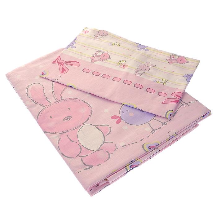 """Постельное белье """"Акварель"""" (детский КПБ, бязь, наволочка 60 см х 40 см), цвет: розовый"""