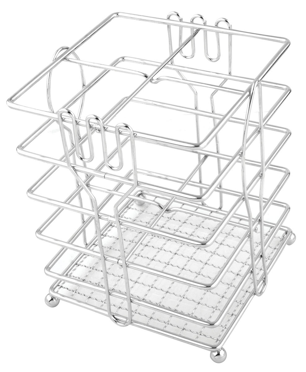"""Подставка для столовых приборов """"Linea Trina"""" представляет собой каркас из нержавеющей стали со стальной сеткой в нижней части, подставка на четырех шарообразных ножках. Разделенная на четыре секции, данная подставка позволяет аккуратно хранить основные типы столовых приборов: ножи, ложки, вилки, чайные ложки. Вы можете установить ее в любом удобном месте. Такая подставка для столовых приборов станет полезным аксессуаром в домашнем быту и идеально впишется в интерьер современной кухни. Характеристики: Материал: нержавеющая сталь. Размер: 15 см х 12 см х 12 см. Размер упаковки: 16 см х 13 см х 13 см. Производитель:  Италия. Артикул:  93-TR-05-05."""