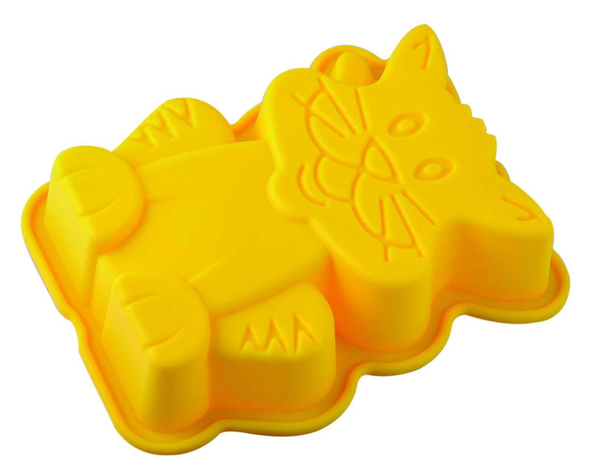 Форма для выпечки и заморозки Regent Inox Киска, силиконовая, цвет: жёлтый, 20 х 16 см93-SI-FO-70Форма для выпечки и заморозки Киска выполнена из силикона и предназначена для изготовления выпечки, желе, льда, мороженого и др. С помощью формы в виде забавного котёнка любой день можно превратить в праздник и порадовать детей.Силиконовые формы выдерживают высокие и низкие температуры (от -40°С до +230°С). Они эластичны, износостойки, легко моются, не горят и не тлеют, не впитывают запахи, не оставляют пятен. Силикон абсолютно безвреден для здоровья.Не используйте моющие средства, содержащие абразивы. Можно мыть в посудомоечной машине. Подходит для использования во всех типах печей. Характеристики:Материал: силикон. Общий размер формы: 20 см х 16 см х 4,5 см. Размер упаковки: 30 см х 19,5 см х 5 см. Изготовитель: Италия. Артикул: 93-SI-FO-70.