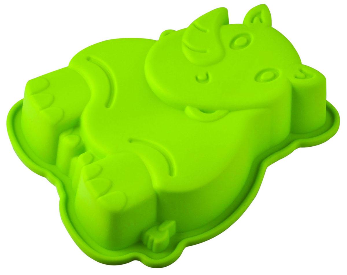 Форма для выпечки и заморозки Regent Inox Носорог, силиконовая, цвет: зелёный, 20 х 15 х 4,5 см ваза mughal l 20 х 20 х 30 см