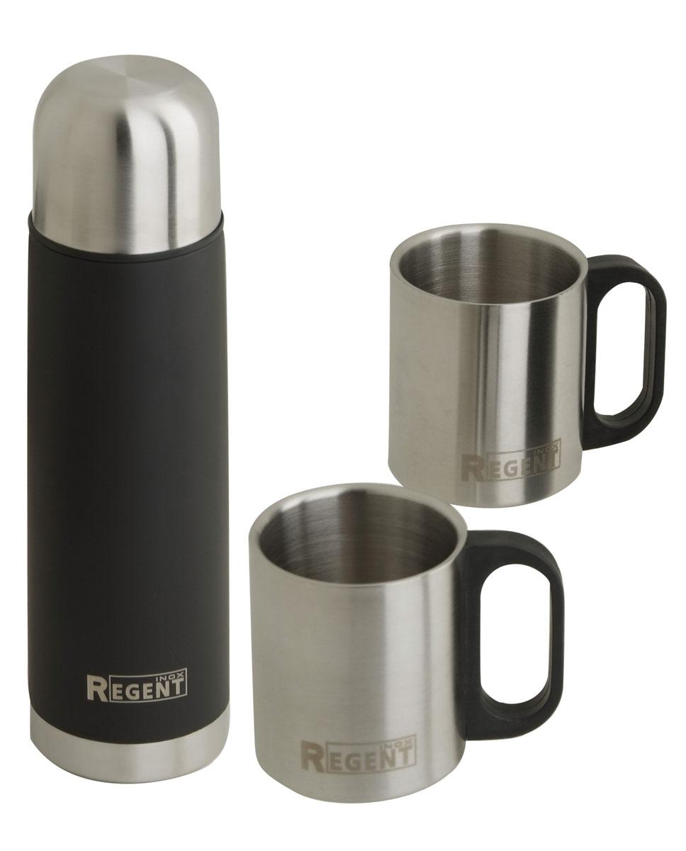 Термос Regent Inox Bullet, цвет: черный+ 2 кружки93-TE-B-S-01Термос Regent Inox Bullet изготовлен из высококачественной пищевой нержавеющей стали с глянцевой и матовой полировкой, что обеспечивает высокую надежность и долговечность. Современная технология с вакуумной изоляцией и металлическая колба, способствуют более длительному сохранению тепла. Через 12 часов температура жидкости в термосе станет равна 35-45°С при условии, что температура окружающей среды не ниже 18°С, а температура жидкости при заполнении не ниже +99°С. Regent Inox Bullet оснащен пластиковой пробкой с удобным кнопочным механизмом - напитки можно наливать, открутив крышку и нажав на кнопку, а крышку можно использовать как чашку.Термос удобен в использовании дома, на даче, в турпоходе и на рыбалке. Пригодится на работе, в офисе и командировке, экономит электроэнергию и время. К термосу прилагается две термокружки объемом 240 мл. Характеристики:Материал: пластик, нержавеющая сталь, резина. Объем термоса: 0,5 л. Объем кружек: 240 мл. Размер упаковки: 33 см х 25 см х 7 см.