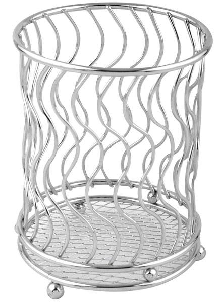 """Подставка для столовых приборов """"Linea Trina"""" представляет собой каркас из нержавеющей стали со стальной сеткой в нижней части, подставка на трех шарообразных ножках. Подставка позволяет аккуратно хранить основные типы столовых приборов. Вы можете установить ее в любом удобном месте.  Такая подставка для столовых приборов станет полезным аксессуаром в домашнем быту и идеально впишется в интерьер современной кухни. Характеристики:   Материал: нержавеющая сталь. Высота подставки: 13 см. Диаметр подставки: 10 см. Размер упаковки: 15 см х 12 см х 12 см. Производитель:  Италия. Артикул:  93-TR-05-02."""