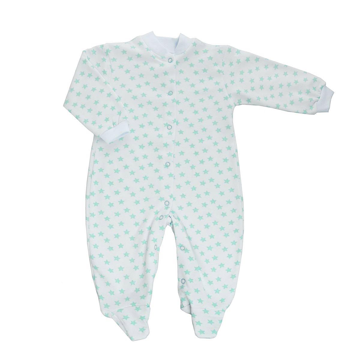Комбинезон детский Трон-Плюс, цвет: белый, салатовый, рисунок звезды. 5821. Размер 80, 12 месяцев комбинезон детский трон плюс цвет белый голубой 5815 горох размер 80 12 месяцев