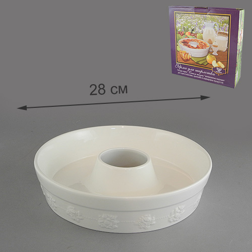 Форма для шарлотки Стиль жизни, цвет: белый. Диаметр 28 см831-008Форма для шарлотки Стиль Жизни выполнена из фарфора с эмалированным глянцевым покрытием белого цвета. По всему периметру украшена лепниной в виде цветочного узора. Фарфор обеспечивает оптимальное распределение тепла и пригоден для использования в микроволновых печах, морозильных камерах, духовках и для мытья в посудомоечной машине. Форма для приготовления шарлотки Стиль Жизни станет отличным подарком для всех любителей домашнего выпекания. Характеристики:Материал: фарфор. Цвет: белый. Размер формы: 28 см х 28 см х 7 см. Диаметр выемки: 7,5 см. Размер упаковки: 28,5 см х 28,5 см х 6,5 см. Артикул: 574-571.