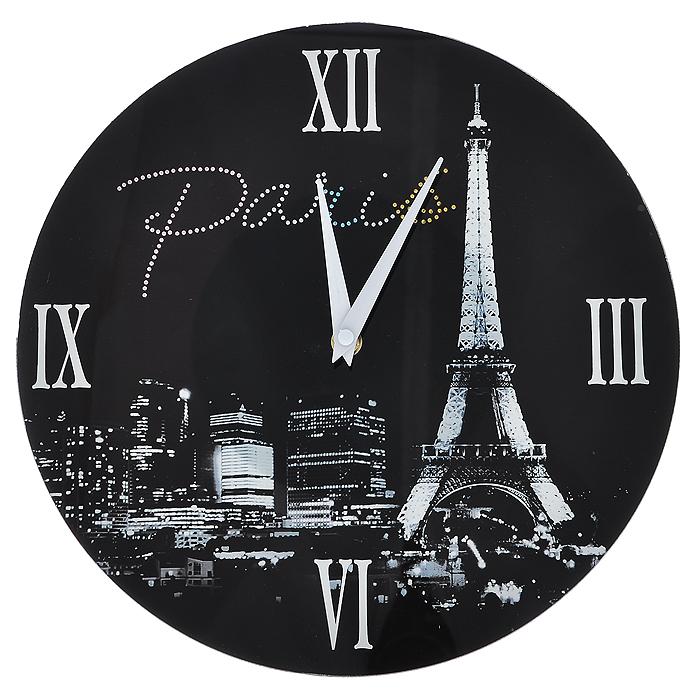 Часы настенные Paris, со стразами138421Настенные кварцевые часы Paris своим дизайном подчеркнут стильность и оригинальность интерьера вашего дома. Часы круглой формы выполнены из стекла, оформлены изображением Эйфелевой башни и декорированы стразами. Часы имеют две стрелки - часовую и минутную. На задней стенке часов расположена петелька для подвешивания и блок с часовым механизмом.Такие часы послужат отличным подарком для ценителя ярких и необычных вещей Характеристики:Материал: стекло, металл. Диаметр часов:30 см. Размер упаковки:32,5 см х 32 см х 4,5 см. Артикул:138421. Рекомендуется докупить 1 батарейку типа АА (не входит в комплект).