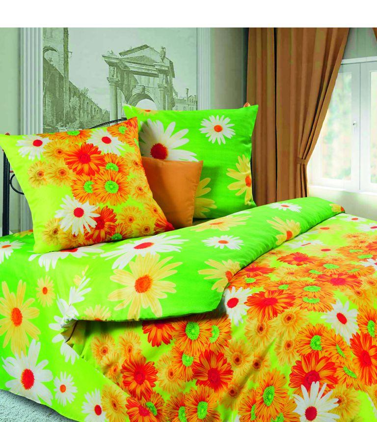 """Комплект белья """"Герберы"""" (1,5 спальный КПБ, микрофибра, наволочки 70х70), цвет: зеленый"""