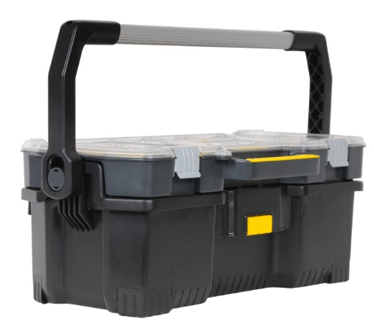 Ящик для инструмента Stanley со съемным органайзером, 241-97-514Ящик для инструмента Stanley со съемным органайзером предназначен для хранения и переноски электроинструмента и мелких деталей.Кнопка на передней поверхности для простого отсоединения органайзера от ящика. Для их соединения необходимо поместить органайзер задней частью на ящик и зафиксировать со щелчком, нажав сверху на переднюю часть.Длинная металлическая ручка ящика, фиксируемая в вертикальном положении для переноски, и опускаемая вниз для удобства хранения. Прочные нержавеющие металлические замки и металлические петли у верхнего кейса. Органайзер имеет переставные пергородки для оптимизации структуры под конкретные задачи.Уникальная конфигурация отделений органайзера позволяет размещать молотки и другие инструменты вместе с мелкими деталями.Полезный объем 53 л, максимальная нагрузка 18 кг. Характеристики: Материал:пластик, металл. Размеры ящика: 67 см x 32,3 см x 25,1 см. Глубина ящика: 17 см. Размеры органайзера: 67 см х 32,3 см х 7 см. Количество отделений органайзера: от 7 до 15. Размеры упаковки: 67 см x 32,3 см x 25,1 см.
