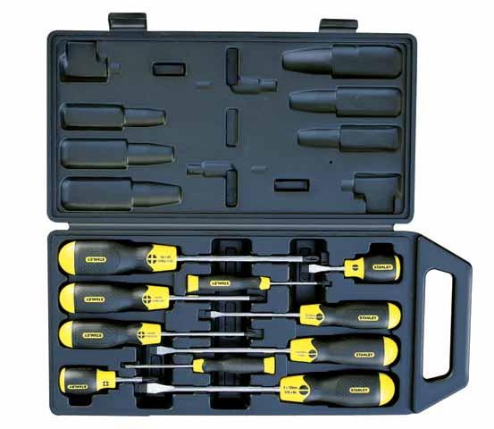 Набор отверток Stanley CushionGrip, 10 шт2-65-005Набор отверток Stanley CushionGrip предназначен для монтажа/демонтажа различных резьбовых соединений. Большие удобные рукоятки отверток обеспечивают большой момент и максимальный комфорт при работе. Цветовая маркировка рукояток помогает правильно идентифицировать тип отвертки под соответствующий шлиц. Дробеструйная обработка помогает защитить жало от коррозии и прикладывать бoльший момент. Стержни отверток изготовлены из хромованадиевой стали для высокой прочности и уменьшения вероятности сколов. В состав набора входят: Шлицевые отвертки: 6,5 х 45 мм, 5 х 100 мм, 6,5 х 150 мм, 8 х 150 мм, 3 х 75 мм. Крестовые отвертки: PH0 х 60 мм, PH1 х 100 мм, PH2 х 100 мм, PH3 х 150 мм, PH2 х 45 мм. Пластиковый кейс. Характеристики: Материал: пластик, резина, сталь. Размеры упаковки: 45 см х 21 см х 5 см.