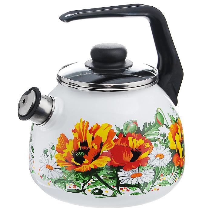 Чайник Floristeria со свистком, цвет: белый, черный, 3 л грелка на чайник курица 39 х 34 х 3 см