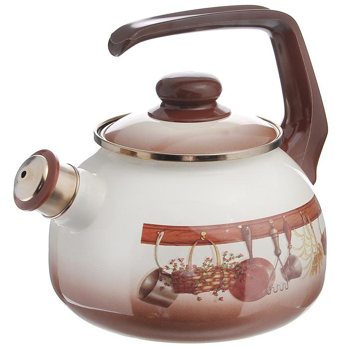 Чайник Кухня со свистком, цвет: бежевый, коричневый, 2,5 л115432Чайник Кухня, изготовлен из высококачественной стали, с эмалированным покрытием. Корпус оформлен изображением кухонных принадлежностей.Эмалированное покрытие устойчиво к механическому воздействию, не царапается и не сходит, а стальная основа практически не подвержена механической деформации, благодаря чему срок эксплуатации увеличивается. Чайник оснащен удобной пластиковой ручкой и стальной крышкой. Носик чайника с насадкой-свистком позволит вам контролировать процесс подогрева или кипячения воды.Чайник Кухня пригоден для использования на всех видах плит, включая индукционные. Можно мыть в посудомоечной машине. Характеристики:Материал:нержавеющая сталь, пластик. Цвет:бежевый, коричневый. Объем:2,5 л. Диаметр основания чайника:19 см. Высота чайника (с учетом ручки):22 см. Размер упаковки:21,5 см х 23,5 см х 21,5 см. Производитель:Сербия. Артикул:115432.