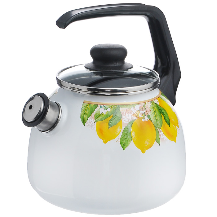 Чайник Limon со свистком, цвет: белый, 3 л1RC12, белый, черный LimonЧайник Limon изготовлен из высококачественного стального проката со стеклокерамическим покрытием. Корпус белого цвета оформлен красочным изображением изображением лимона. Стеклокерамика инертна и устойчива к пищевым кислотам, не вступает во взаимодействие с продуктами и не искажает их вкусовые качества. Прочный стальной корпус обеспечивает эффективную тепловую обработку пищевых продуктов и не деформируется в процессе эксплуатации.Чайник оснащен черной пластиковой удобной ручкой. Крышка чайника выполнена из стекла с пароотводом, что позволяет сохранять тепло. Носик чайника с насадкой-свистком позволит вам контролировать процесс подогрева или кипячения воды. Чайник Limon пригоден для использования на всех видах плит, включая индукционные. Можно мыть в посудомоечной машине. Характеристики:Материал: нержавеющая сталь, пластик, стекло. Цвет: белый. Объем: 3 л. Диаметр основания чайника: 18 см. Высота чайника (с учетом ручки): 22 см. Размер упаковки: 20 см х 25 см х 20 см. Артикул: 8RA12.