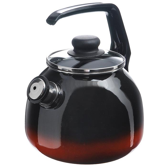 Чайник Кармен со свистком, цвет: черный, красный, 3 л грелка на чайник курица 39 х 34 х 3 см