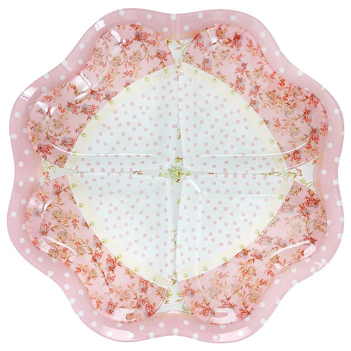 Менажница Lillo, 4 секции. 213380213380Менажница Lillo, изготовленная из высококачественного стекла, декорирована изящными узорами и бабочками. Менажница представлена в виде блюда с 4 съемными секциями в форме сердец.Некоторые блюда можно подавать только в менажнице, чтобы не произошло смешение вкусовых оттенков гарниров. Также менажница может быть использована в качестве посуды для нескольких видов салатов или закусок. Характеристики:Материал: фарфор. Размер менажницы: 28 см х 28 см х 1,5 см. Размер секции: 12 см х 12 см х 1 см. Размер упаковки: 29 см х 29 см х 3,5 см. Артикул: 213380.