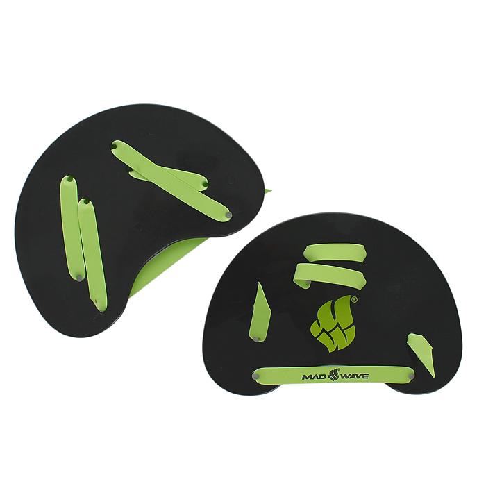 Лопатки гребные MadWave Finger Paddles для плавания, цвет: черный, зеленый