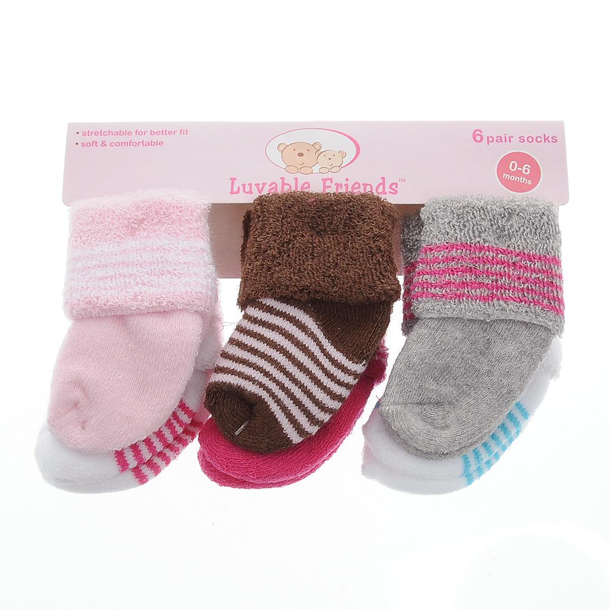 Носки детские Luvable Friends, цвет: серый, розовый, белый, 6 пар. 20615. Размер 55/67, 0-6 месяца20615Комфортные, прочные и красивые детские носки Luvable Friends, махровые внутри, очень мягкие на ощупь, а широкая резинка-отворот плотно облегает ножку ребенка, не сдавливая ее, благодаря чему малышу будет комфортно и удобно. Комплект состоит из шести пар носочков различной расцветки.