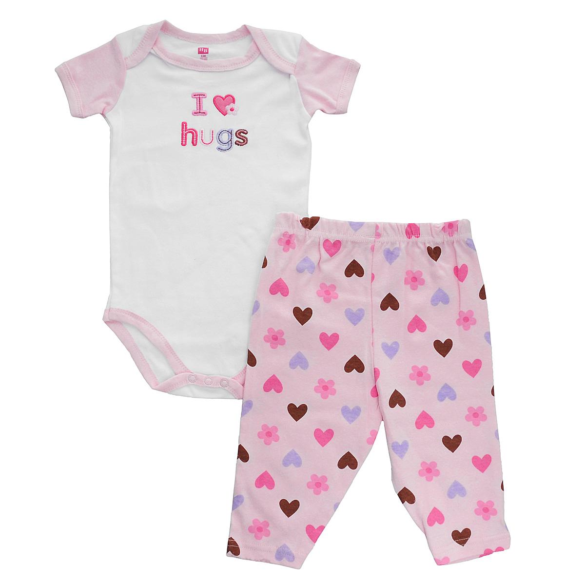 Комплект для девочки Hudson Baby Пирожное: боди, штанишки, цвет: розовый, белый. 50350. Размер 67/72, 6-9 месяцев боди и песочники hudson baby боди собачка 3 шт