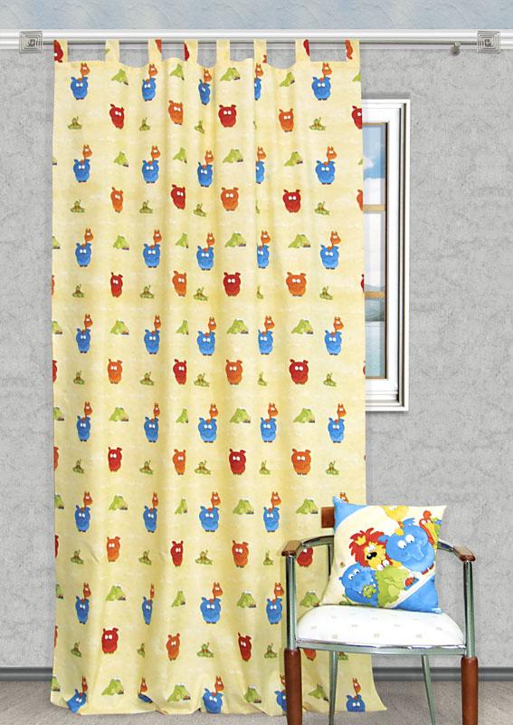 Штора Kauffort Кидс, на петлях, цвет: желтый, высота 290 смUN111060615Яркая детская штора Kauffort Кидс, выполненная из плотной ткани желтого цвета, станет великолепным украшением окна в детской. Штора оформлена красочными изображениями забавных животных. Оригинальная текстура ткани и яркий цветовой дизайн привлекут внимание ребенка и органично впишутся в интерьер помещения детской. Штора оснащена петлями для крепления на круглый карниз и шторной лентой для красивой сборки. В комплекте - термоклеевая лента, которую также можно использовать для сборки. Характеристики: Материал: 25% полиэстер, 75% хлопок. Цвет: желтый. Длина петли: 10 см. Размер упаковки: 27 см х 37 см х 3 см. Артикул: UN111060615.В комплект входит: Штора - 1 шт. Размер (Ш х В): 150 см х 290 см.