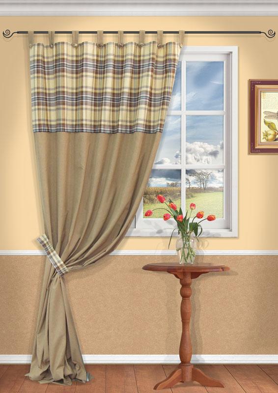 Штора Kauffort Корфу, на петлях, цвет: бежевый, высота 290 смUN111111615Штора Kauffort Корфу, выполненная из плотного текстиля, станет великолепным украшением любого окна. Штора выполнена из сочетания клетчатой и бежевой однотонной ткани. Для более изящного расположения шторы на окне прилагается подхват. Штора оснащена петлями для крепления на круглый карниз и шторной лентой для красивой сборки. Характеристики: Материал: 32% хлопок, 38% полиэстер, 30% акрил. Цвет: бежевый. Размер упаковки: 37 см х 30 см х 4 см. Артикул: UN111111615.В комплект входит: Штора - 1 шт. Размер (Ш х В): 156 см х 290 см (отклонение размера ~1,5%). Подхват - 1 шт. Размер (Ш х В): 68 см х 7 см.