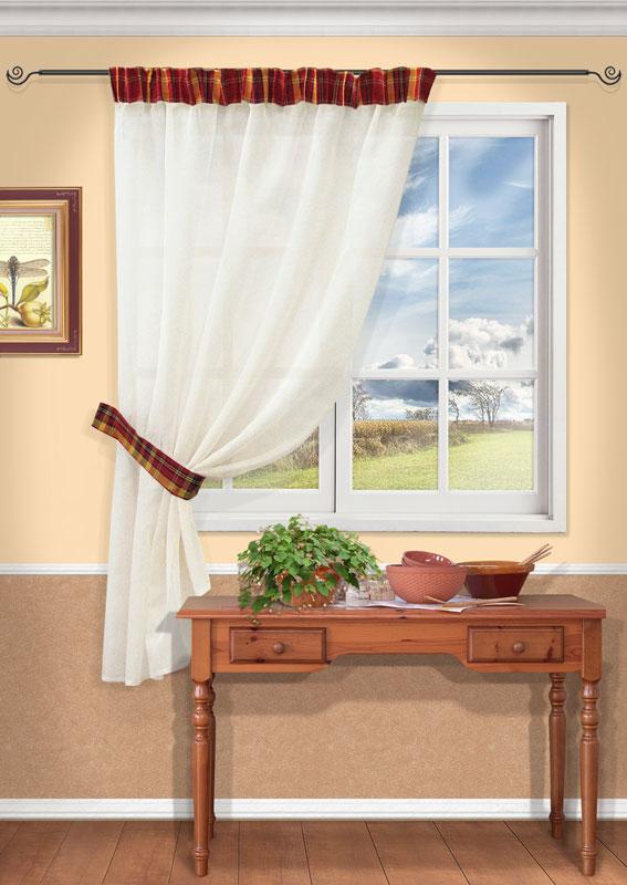 Штора Kauffort Корфу, на ленте, цвет: белый, бордовый, высота 170 смUN111903675Штора Kauffort Корфу выполнена из качественного полиэстера. Основное полотно выполнено из полупрозрачного материала белого цвета, верх - из плотной клетчатой ткани бордового цвета. Для более изящного расположения шторы на окне прилагается подхват.Качественный материал, оригинальный дизайн и приятная цветовая гамма привлекут к себе внимание и органично впишутся в интерьер помещения. Изделие оснащено шторной лентой для красивой сборки.Штора Kauffort Корфу великолепно украсит любое окно. Характеристики: Материал: 100% полиэстер. Цвет: белый, бордовый. Размер упаковки: 37 см х 27 см х 3 см. Артикул: UN111903675.В комплект входит: Штора - 1 шт. Размер (Ш х В): 145 см х 270 см (отклонение размера ~ 1,5%). Подхват - 1 шт. Размер (Ш х Д): 7 см х 68 см.