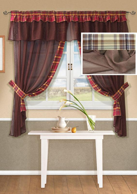 Комплект штор Kauffort Лайт, на ленте, цвет: бежевый, высота 170 смUN123500115Комплект Kauffort Лайт состоит из двух штор, двух подхватов и ламбрекена. Предметы комплекта выполнены из качественного материала, изготовленного из хлопка, полиэстера и акрила. Шторы и ламбрекен, выполненные из сетчатого полотна бежевого цвета, декорированы плотными текстильными вставками с клетчатым рисунком. Качественный материал, оригинальный дизайн и контрастная цветовая гамма привлекут к себе внимание и органично впишутся в интерьер помещения. Шторы и ламбрекен оснащены лентой для красивой сборки. Характеристики: Материал: 38% полиэстер, 32% хлопок, 30% акрил. Цвет: бежевый. Размер упаковки: 36 см х 28 см х 4 см. Артикул: UN123500115.В комплект входит: Штора - 2 шт. Размер (Ш х В): 163 см х 170 см (отклонение размера ~1,5%). Ламбрекен - 1 шт. Размер (Ш х В): 280 см х 40 см (отклонение размера ~1,5%). Подхват - 2 шт. Размер (Ш х Д): 6 см х 72 см (отклонение размера ~1,5%).
