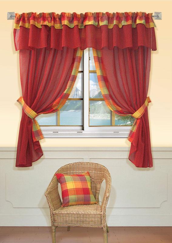Комплект штор Kauffort Лайт, на ленте, цвет: красный, высота 170 смUN123500175Комплект Kauffort Лайт состоит из двух штор, двух подхватов и ламбрекена. Предметы комплекта выполнены из качественного материала, изготовленного из хлопка, полиэстера и акрила. Шторы и ламбрекен, выполненные из сетчатого полотна красного цвета, декорированы плотными текстильными вставками с клетчатым рисунком. Качественный материал, оригинальный дизайн и контрастная цветовая гамма привлекут к себе внимание и органично впишутся в интерьер помещения. Шторы и ламбрекен оснащены лентой для красивой сборки. Характеристики: Материал: 38% полиэстер, 32% хлопок, 30% акрил. Цвет: красный. Размер упаковки: 36 см х 28 см х 4 см. Артикул: UN123500175.В комплект входит: Штора - 2 шт. Размер (Ш х В): 163 см х 170 см (отклонение размера ~1,5%). Ламбрекен - 1 шт. Размер (Ш х В): 280 см х 40 см (отклонение размера ~1,5%). Подхват - 2 шт. Размер (Ш х Д): 6 см х 72 см (отклонение размера ~1,5%).