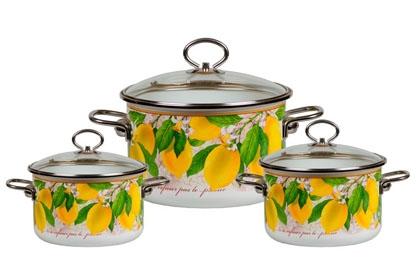 Набор кастрюль Vitross Limon с крышками, цвет: белый, 3 шт набор кастрюль 3 предмета vitross limon 1db135s