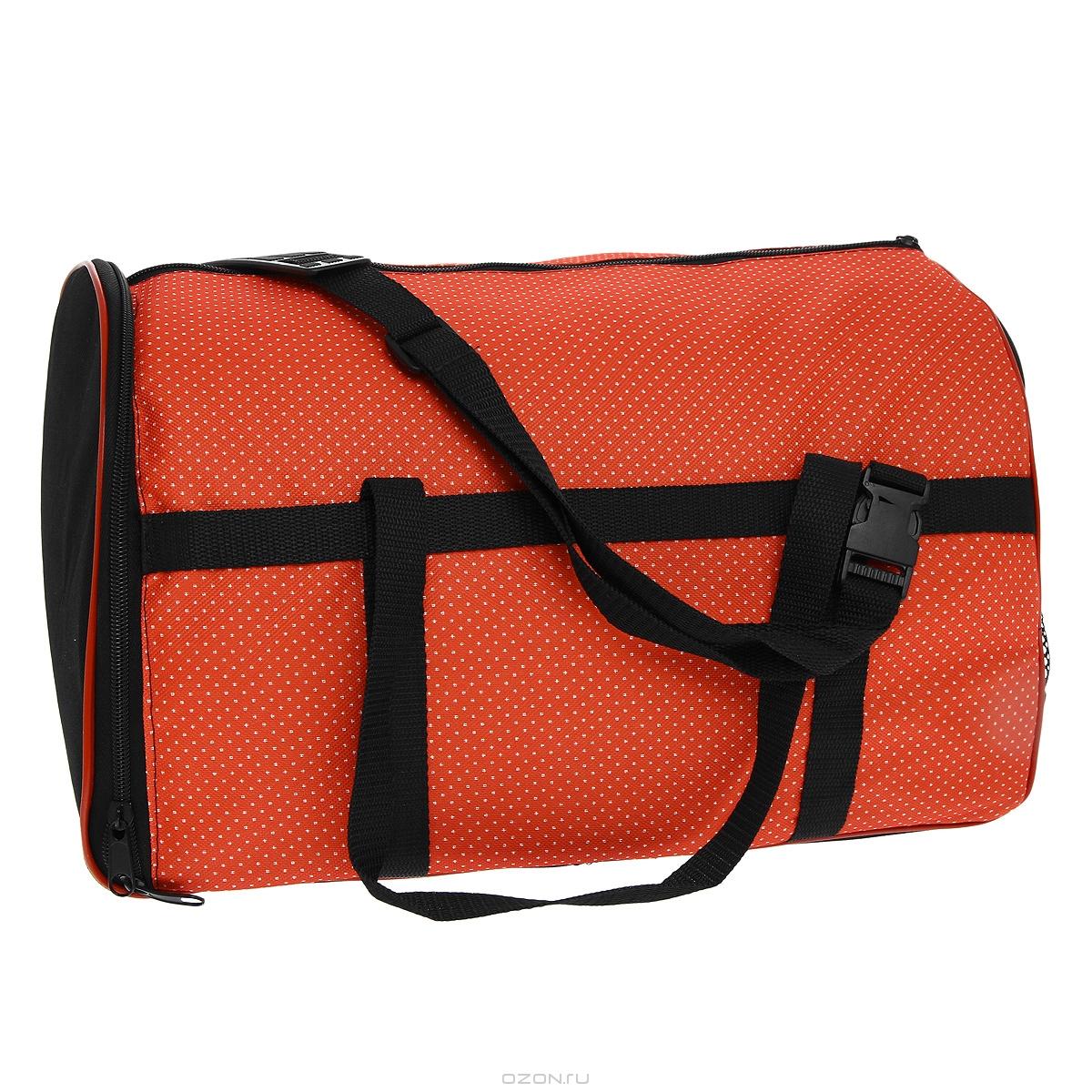 Сумка-переноска  Гамма  для животных, с сеткой, цвет: красный в точку, 42 см х 28 см х 31 см - Переноски, товары для транспортировки