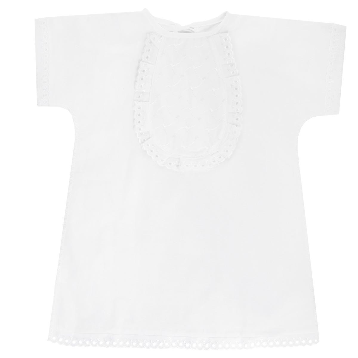 Крестильная рубашка детская Трон-плюс, цвет: белый. 1135. Размер 68, 6 месяцев1135Крестильная рубашка Трон-плюс, выполненная из натурального хлопка, станет незаменимым атрибутом крещения. Рубашка необычайно мягкая и приятная на ощупь, не сковывает движения младенца и позволяет коже дышать, не раздражает нежную кожу ребенка, обеспечивая ему наибольший комфорт. Рубашка трапециевидной формы с короткими рукавами имеет две завязки сзади, которые помогают с легкостью переодеть младенца. Украшена рубашка отделкой в виде жабо. Низ рукавов и низ изделия оформлены ажурными петельками. По бокам рубашечка дополнена двумя небольшими разрезами. Швы выполнены наружу.Благодаря такой рубашке ваш ребенок не замерзнет, и будет выглядеть нарядно.