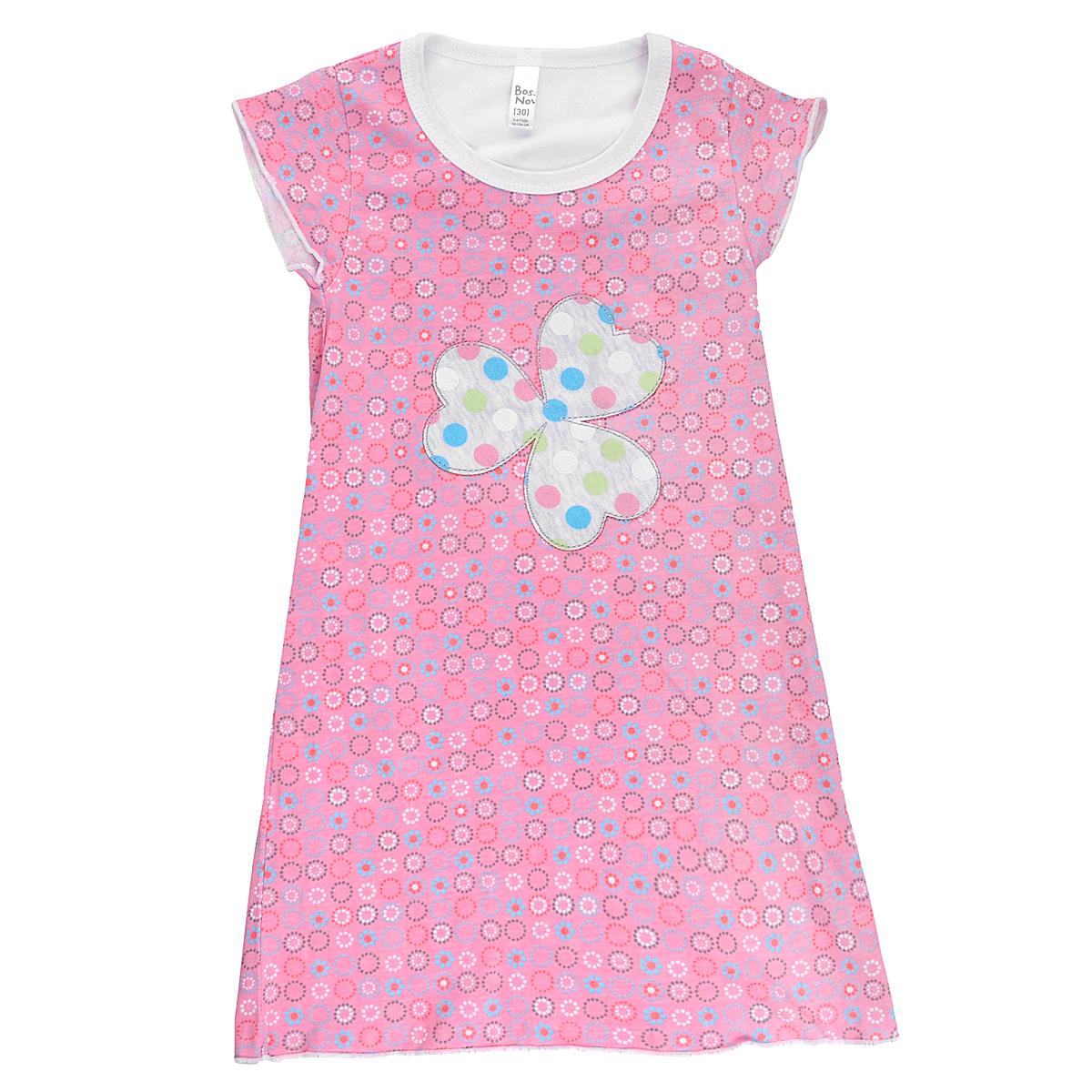 Ночная сорочка для девочки Bossa Nova, цвет: розовый, белый. 357Б-181. Размер 98/104, 3-4 года пижамы и ночные сорочки bossa nova ночная сорочка супергерои 358б 161