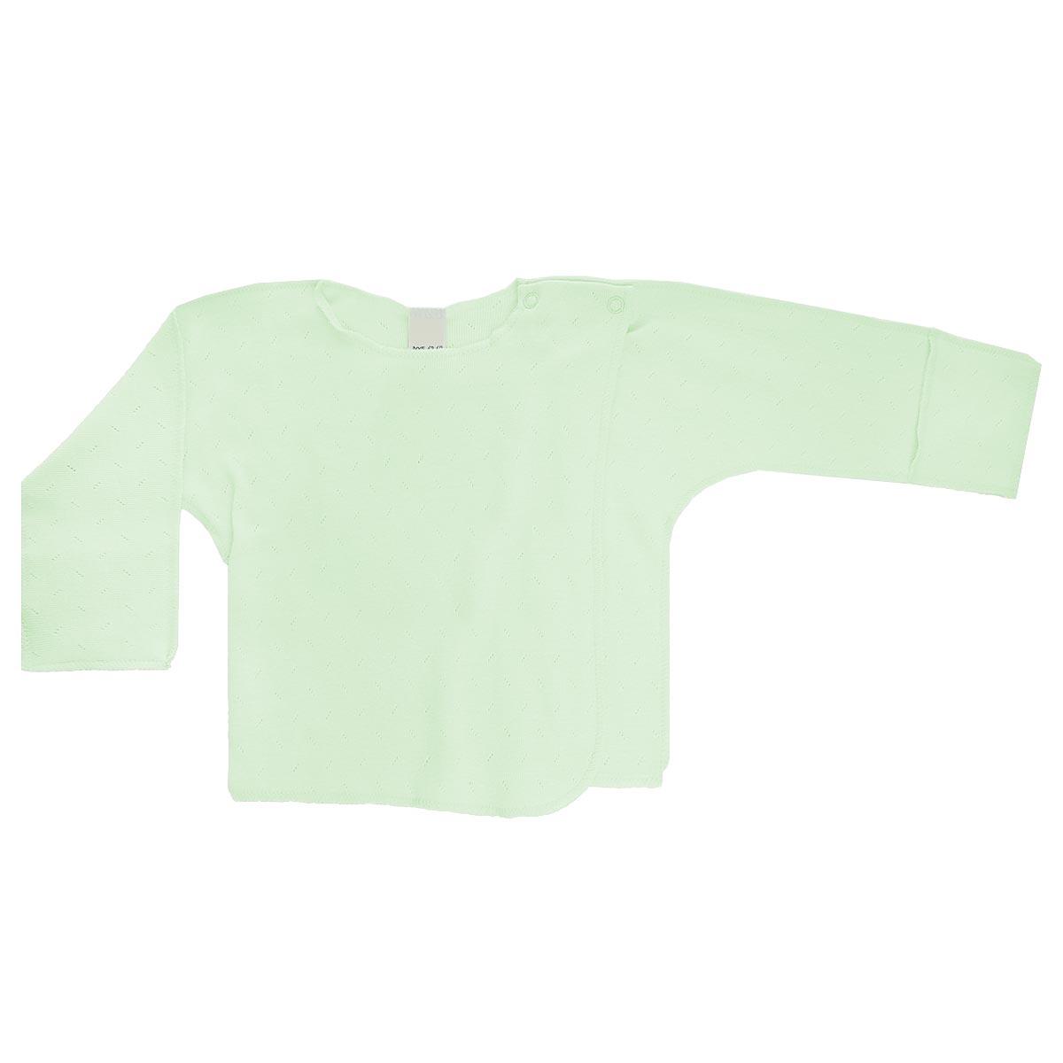 Распашонка Lucky Child Ажур цвет: светло-зеленый. 0-8. Размер 56/620-8Распашонка для новорожденного Lucky Child Ажур с длинными рукавами послужит идеальным дополнением к гардеробу вашего малыша, обеспечивая ему наибольший комфорт. Распашонка изготовлена из натурального хлопка, благодаря чему она необычайно мягкая и легкая, не раздражает нежную кожу ребенка и хорошо вентилируется, а эластичные швы приятны телу малыша и не препятствуют его движениям.Распашонка-кимоно для новорожденного, выполненная швами наружу, и украшенная ажурным узором, имеет кнопки по плечу, которые помогают с легкостью переодеть малыша. А благодаря рукавичкам ребенок не поцарапает себя. Ручки могут быть как открытыми, так и закрытыми. Распашонка полностью соответствует особенностям жизни ребенка в ранний период, не стесняя и не ограничивая его в движениях. В ней ваш малыш всегда будет в центре внимания.