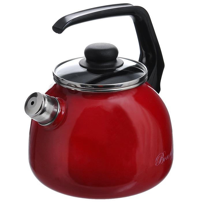 Чайник Bon Appetit со свистком, цвет: вишневый, 3 л