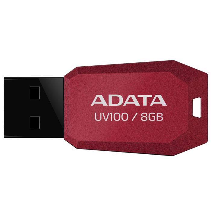 ADATA UV100 8GB, Red флэш-накопительAUV100-8G-RRDТонкий флеш-накопитель ADATA UV100 расширяет предлагаемый широкий ассортимент портативных устройств хранения данных.Накопитель имеет бесколпачковую конструкцию, исключающую риск потери колпачка. Отверстие в корпусе позволяет легко носить накопитель на шнурке или брелоке для ключей. Для тех, кто разбирается в моде, накопитель выгодно отличается внешним видом, напоминающим огранку бриллианта, что позволяет владельцам подчеркнуть свой уникальный личный стиль.Обладая длиной всего 41 мм и толщиной лишь 5.8 мм, этот накопитель является в высшей степени компактным и экономичным решением для тех, кто считает переносимость данных насущной необходимостью.