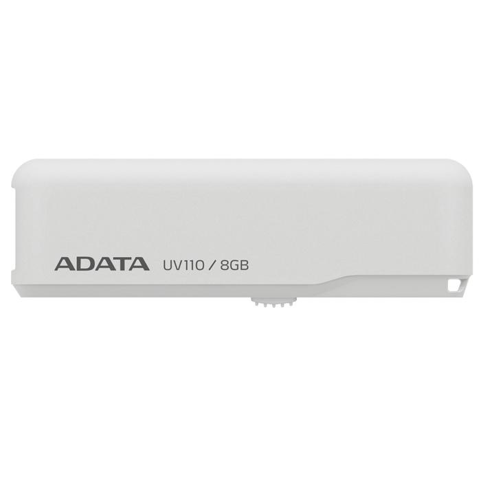 ADATA UV110 8GB, White флэш-накопительAUV110-8G-RWHФлеш-накопитель ADATA UV110 предназначен для тех, кто ищет экономичное устройство для хранения данных, и предлагается в четырех приятных цветовых исполнениях.Теперь вы можете щеголять флеш-накопителем USB, который соответствует вашему месту в цифровом спектре. Устройство UV110 чрезвычайно экономично и подкрепляется надежностью и обслуживанием компании ADATA. Выберите цвет, соответствующий другим вашим устройствам или просто вашему настроению: королевский синий, цветочный белый, легкий розовый и седельный коричневый - все они добавят новых ярких красок вашим портативным данным. Конструкция с выдвижным разъемом USB предотвращает износ и истирание механизма. Осторожно нажмите на фиксатор и выдвиньте разъем, а затем вставьте его прямо в порт USB на компьютере. Не нужно загружать или устанавливать никакие драйверы. После использования задвиньте разъем USB обратно, чтобы он скрылся внутри корпуса; для ношения устройства вы можете использовать цепочку или ремешок, на ваш выбор.
