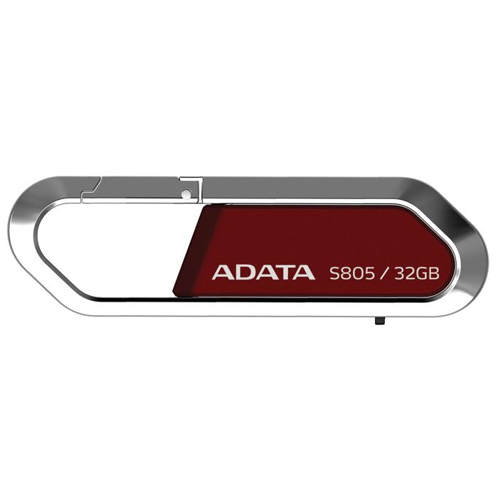 ADATA S805 Sports 32GB, Red флэш-накопительAS805-32G-RRDФлеш-накопитель USB ADATA S805 Sports с карабином для цепочки.Созданный по модели карабина, USB флэш-накопитель ADATA S805 гармонично объединяет в себе тонкую работу и стиль. Рамка корпуса USB-накопителя ADATA S805 Sports выполнена из цинкового сплава с отделкой серого или красного цвета, что делает его прекрасным аксессуаром, который можно брать с собой, куда бы вы ни поехали. С емкостью памяти до 32 ГБ вы можете легко переносить и обмениваться большими видео/аудиофайлами.Портативность, мощность и спортивный стиль накопителя S805 делают его идеальным выбором для соответствия вашим запросам по мобильному хранению данных.Облаченная в серебристый серый или страстный красный цвет, гладкая модель ADATA S805 Sports USB выглядит великолепно на ключах, портфеле, рюкзаке или на сумке для ноутбука. Умный выдвижной дизайн конструкции S805 также исключает необходимость использования колпачка и его возможную потерю, тем самым делая его просто незаменимым элементом вашего цифрового арсенала.USB-накопитель ADATA S805 Sports использует интерфейс USB 2.0, который делает его совместимым с большинством компьютеров, и включает удобную функцию plug-and-play. Используете ли вы Windows 98 или последнюю версию Windows 7, Mac OS 9 или Mac OS X 10.6, или даже Linux Kernel 2.4 или более позднюю версию, накопитель S805 - это правильный выбор для мобильного хранения всех ваших данных.