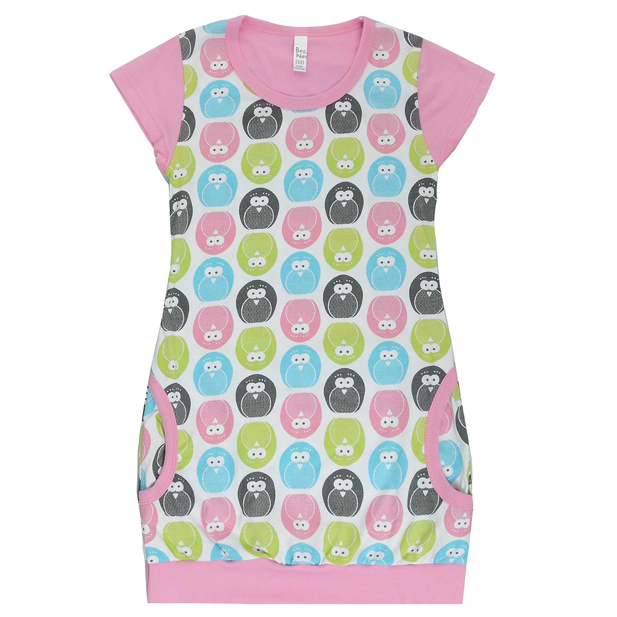 Ночная сорочка для девочки Bossa Nova, цвет: белый, розовый, с пингвинами. 389Б-171. Размер 110/116, 5-6 лет пижамы и ночные сорочки bossa nova ночная сорочка супергерои 358б 161