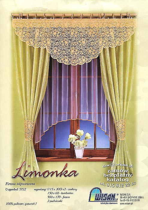 Комплект штор для кухни Limonka, на ленте, цвет: белый, желтый, салатовый, высота 200 см659753Комплект штор Limonka, выполненный из качественного полиэстера, великолепно украсит кухонное окно. Комплект состоит из двух штор, тюля и ламбрекена. Для более изящного расположения штор прилагаются подхваты. Полотно тюля изготовлено из белой сетчатой ткани и декорировано желтым атласным кантом. Шторы выполнены из вуали салатового цвета. Ламбрекен и подхваты выполнены из кружевной ткани желтого цвета.Тонкое плетение, оригинальный дизайн и нежная цветовая гамма привлекут к себе внимание и органично впишутся в интерьер комнаты. Все предметы комплекта - на шторной ленте для собирания в сборки. Характеристики: Материал: 100% полиэстер. Цвет: белый, желтый, салатовый. Размер упаковки:37 см х 25 см х 6 см. Артикул: 659753.В комплект входят: Штора - 2 шт. Размер (Ш х В): 115 см х 200 см. Тюль - 1 шт. Размер (Ш х В): 300 см х 170 см. Ламбрекен - 1 шт. Размер (Ш х В): 150 см х 60 см. Подхват - 2 шт. Фирма Wisan на польском рынке существует уже более пятидесяти лет и является одной из лучших польских фабрик по производству штор и тканей. Ассортимент фирмы представлен готовыми комплектами штор для гостиной, детской, кухни, а также текстилем для кухни (скатерти, салфетки, дорожки, кухонные занавески). Модельный ряд отличает оригинальный дизайн, высокое качество. Ассортимент продукции постоянно пополняется.