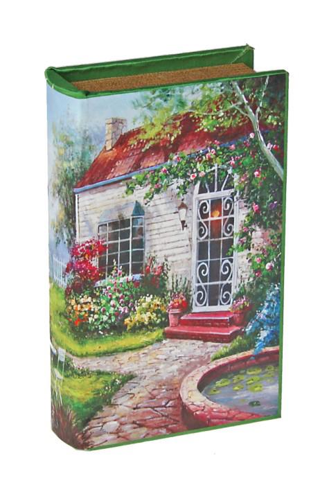 Шкатулка-книга Усадьба444066Оригинальное оформление шкатулки, несомненно, привлечет внимание. Шкатулка Усадьба изготовлена в виде книги, поверхность которой выполнена из шёлка и оформлена красочным изображением дома с цветущим садом.Такая шкатулка может использоваться для хранения бижутерии, в качестве украшения интерьера, а также послужит хорошим подарком для человека, ценящего практичные и оригинальные вещи. Характеристики:Материал: дерево, кожзам, шёлк. Размер шкатулки (в закрытом виде): 17 см х 11 см х 5 см. Размер упаковки: 18 см х 12 см х 6 см. Артикул: 444066.