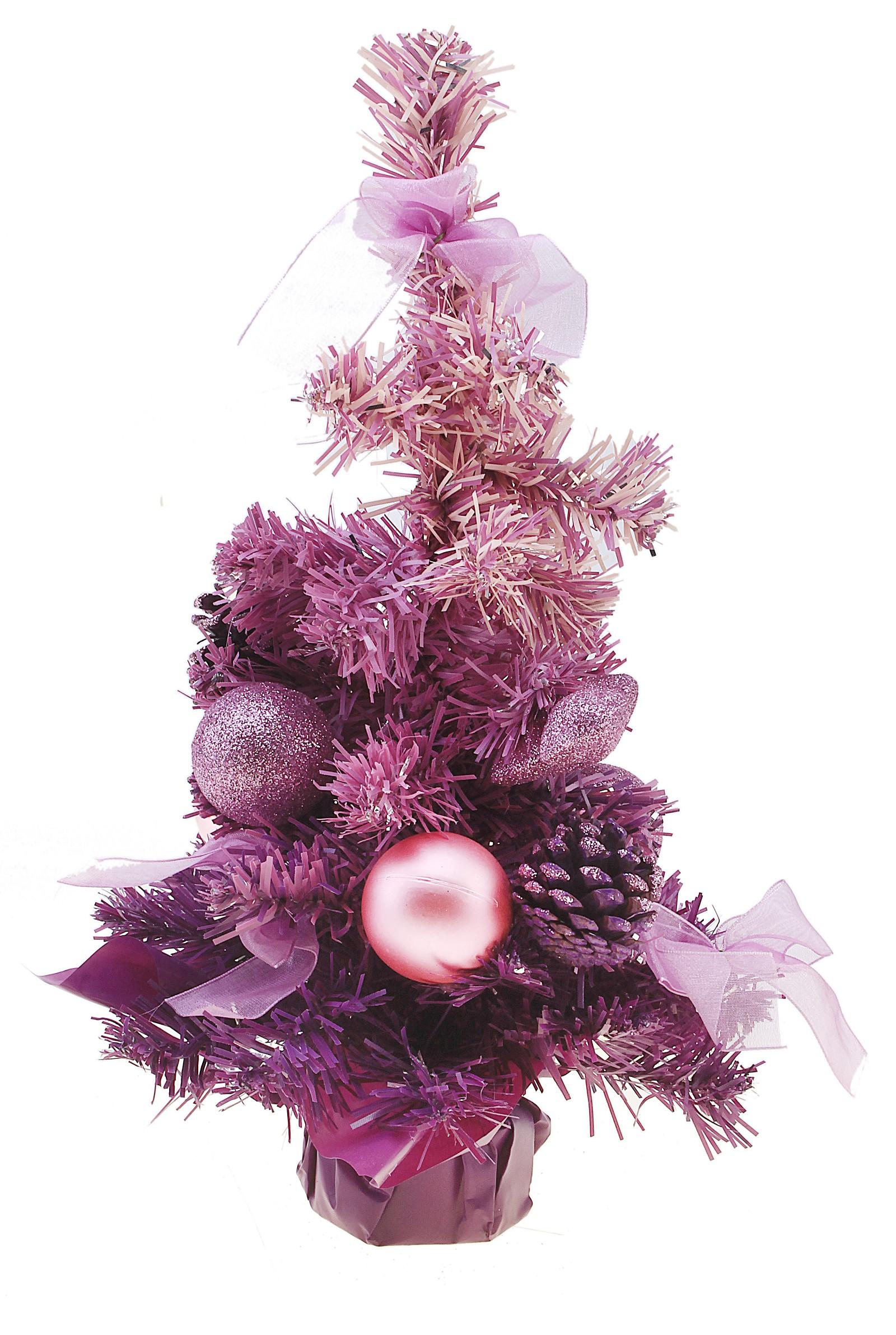 Декоративное украшение Новогодняя елочка, цвет: фиолетовый, высота 31 см. 542621542621Декоративное украшение, выполненное из пластика - мини-елочка фиолетового цвета для оформления интерьера к Новому году. Ее не нужно ни собирать, ни наряжать, зато настроение праздника она создает очень быстро. Елка украшена шишками, лентами, елочными игрушками и шариками. Елка украсит интерьер вашего дома или офиса к Новому году и создаст теплую и уютную атмосферу праздника.Откройте для себя удивительный мир сказок и грез. Почувствуйте волшебные минуты ожидания праздника, создайте новогоднее настроение вашим дорогим и близким. Характеристики:Материал: пластик, металл, текстиль. Цвет: фиолетовый. Размер елочки: 17 см х 17 см х 31 см. Артикул: 542621.